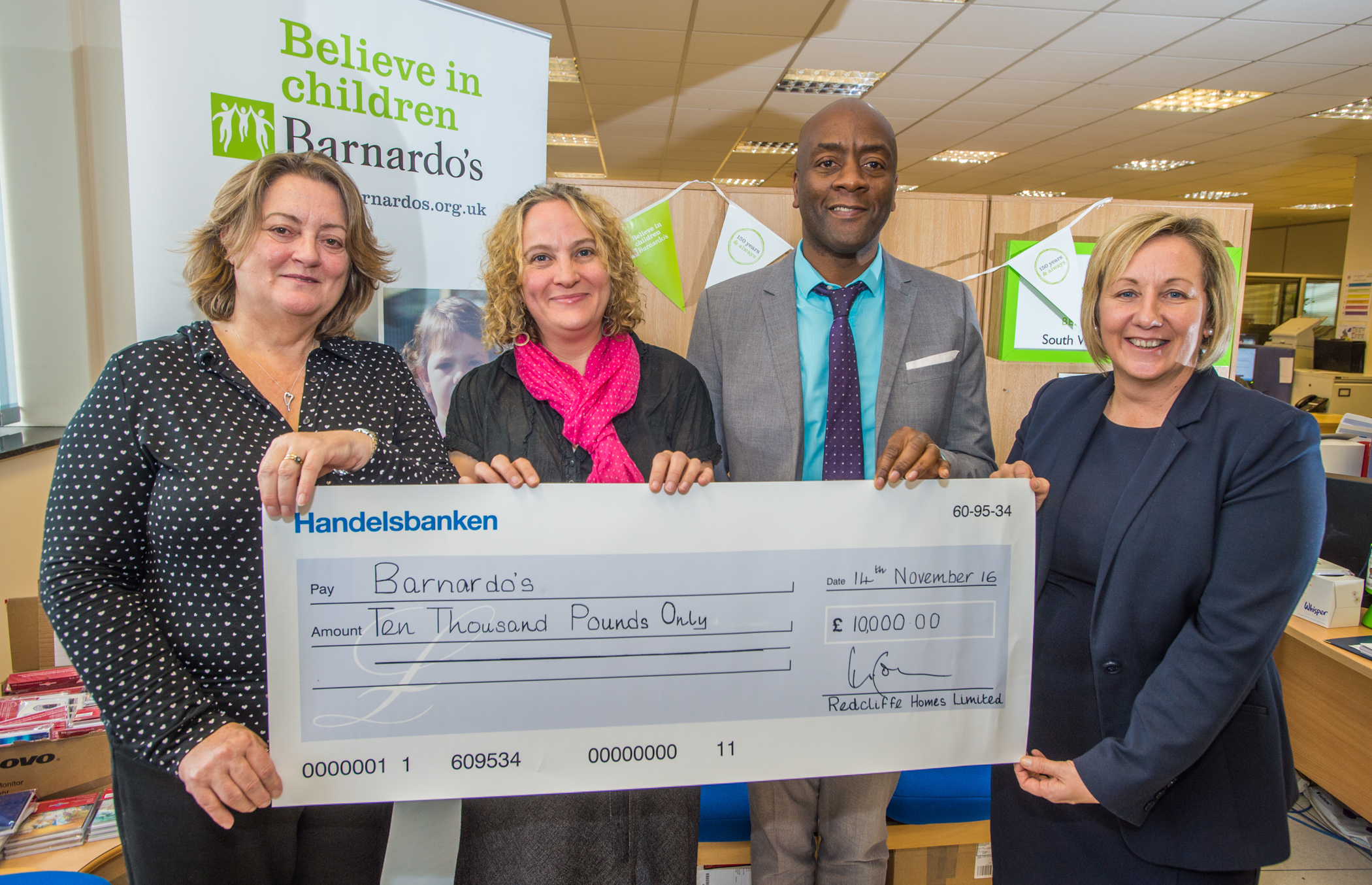 Redcliffe Homes gives £10,000 boost to Barnardo's