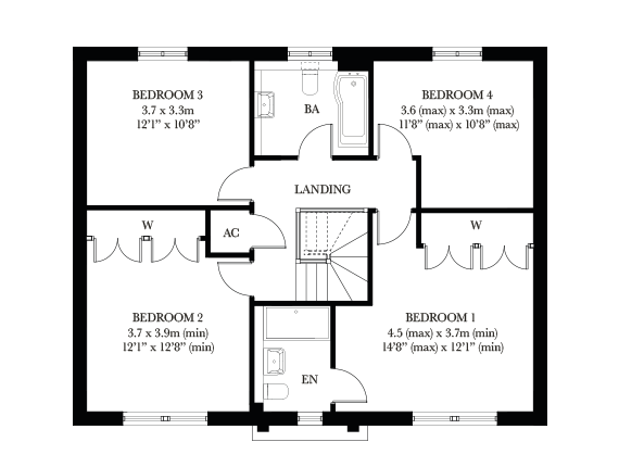 The Wimborne first floor plan